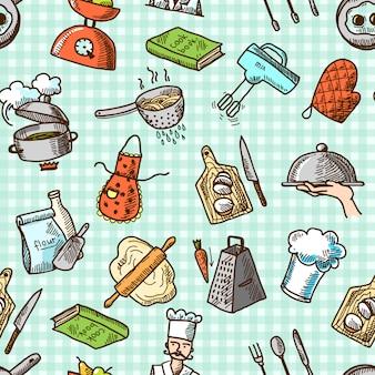 Cozinhar ícones sem costura padrão