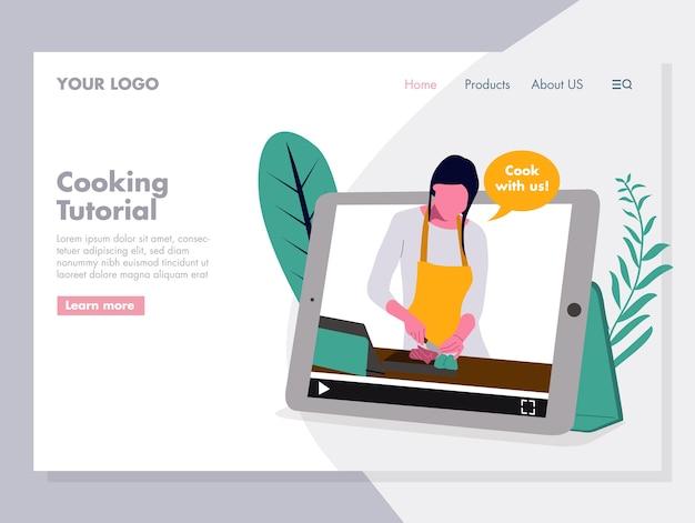 Cozinhar ilustração vetorial de tutorial para a página de destino