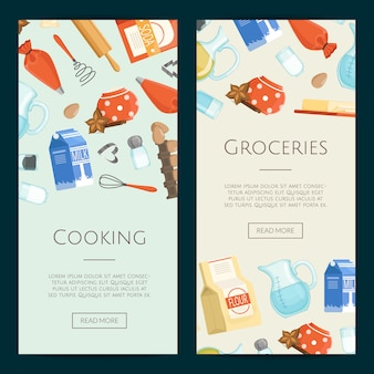 Cozinhar ingridients ou mantimentos modelos de banner verticais. mercearia e cozinhar, ingridients cartaz fresco