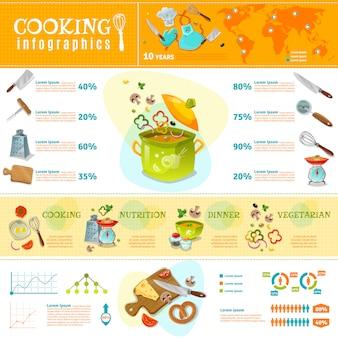 Cozinhar layout plana de infográficos