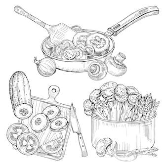 Cozinhar legumes, pratos e legumes desenho ilustração