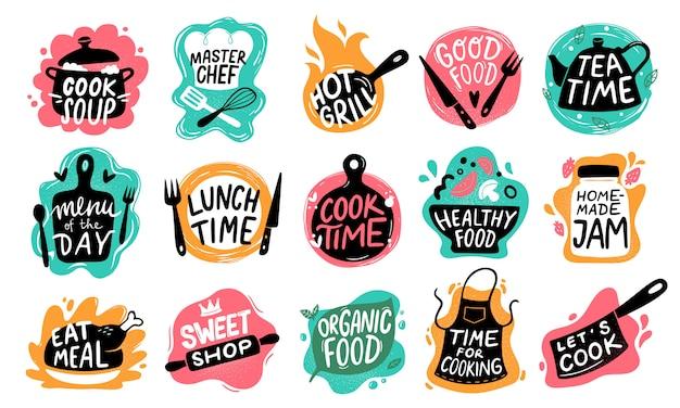Cozinhar letras de comida. logotipos de distintivo de cozinha, cozimento tipografia de alimentos e cozinhar conjunto de rótulos