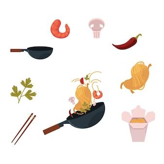 Cozinhar macarrão tailandês, japonês e chinês no wok