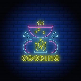 Cozinhar néon canta texto de estilo com parede de tijolos.