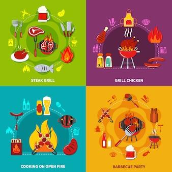 Cozinhar no fogo aberto bife grill and grill chiken na festa de churrasco