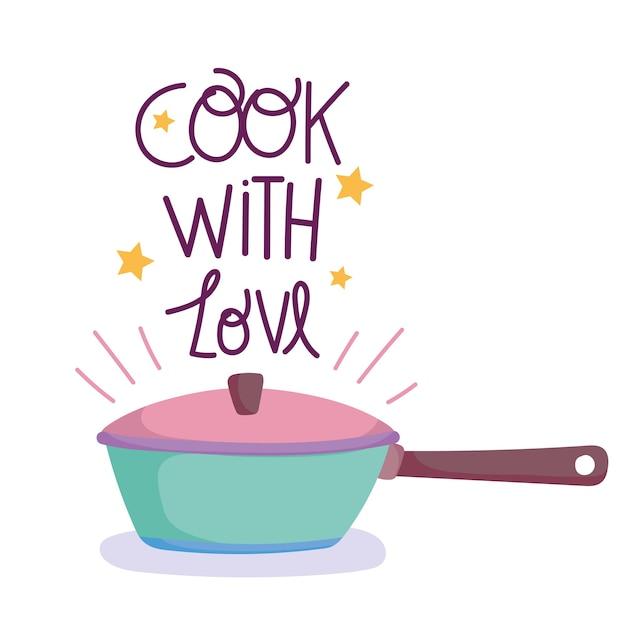 Cozinhar, panela e cozinhar com texto de amor, ilustração estilo cartoon