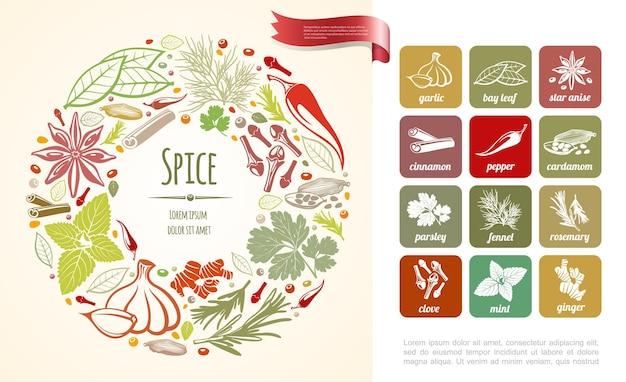 Cozinhar temperos frescos redondos com plantas saudáveis em estilo de ilustração desenhado à mão