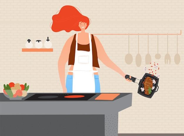 Cozinhe a ilustração de carne.