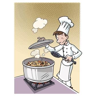 Cozinhe fazendo um guisado em uma panela