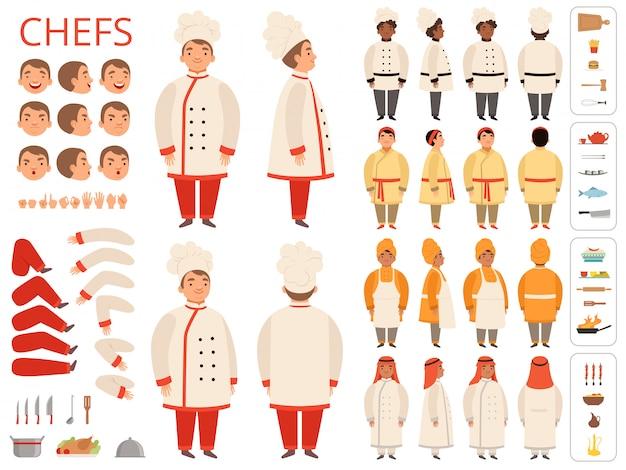 Cozinhe nacional. partes do corpo do chefe indiano árabe preto asiático várias poses e itens de cozinha construtor