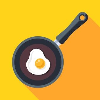 Cozinhe os ovos mexidos em uma frigideira quente. ilustração vetorial plana.