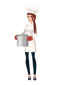 Cozinheira com luva de forno segurando uma panela de aço