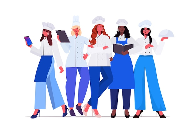 Cozinheiras de uniforme em pé juntos lindas mulheres chefs cozinhando conceito da indústria de alimentos, restaurante profissional, cozinha trabalhadores, comprimento total, horizontal, vetorial, ilustração