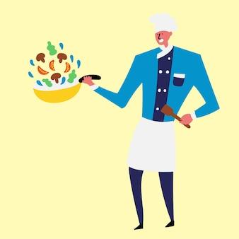 Cozinheiro alegre preparando legumes em uma panela