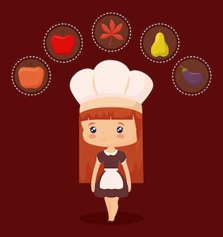 Cozinheiro chefe bonito com conjunto de dia de ação de graças
