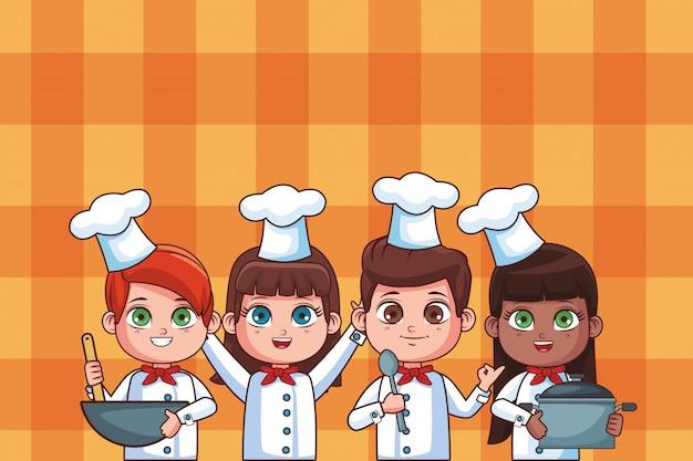 Cozinheiro chefe bonito crianças desenhos animados