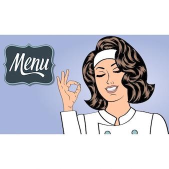 Cozinheiro chefe da mulher sexy no uniforme gesticulando sinal aprovado com sua mão menu formato vetorial