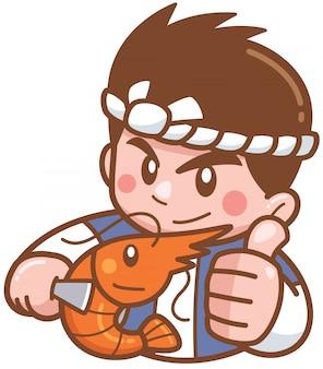 Cozinheiro chefe dos desenhos animados, apresentando alimentos grelhados camarão