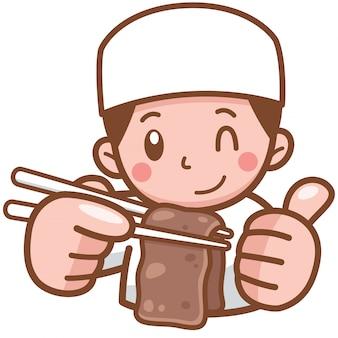 Cozinheiro chefe dos desenhos animados, apresentando alimentos grelhados de carne