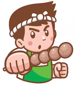Cozinheiro chefe dos desenhos animados, apresentando comida
