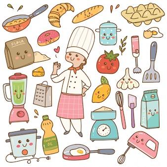 Cozinheiro chefe dos desenhos animados com equipamentos de cozinha kawaii doodle