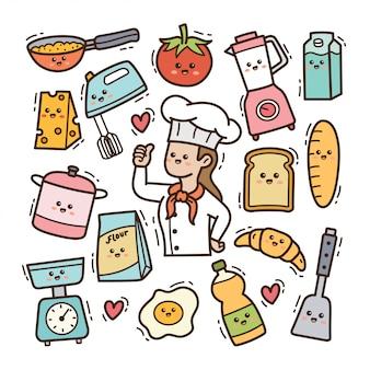 Cozinheiro chefe dos desenhos animados com utensílios de cozinha kawaii doodle ilustração