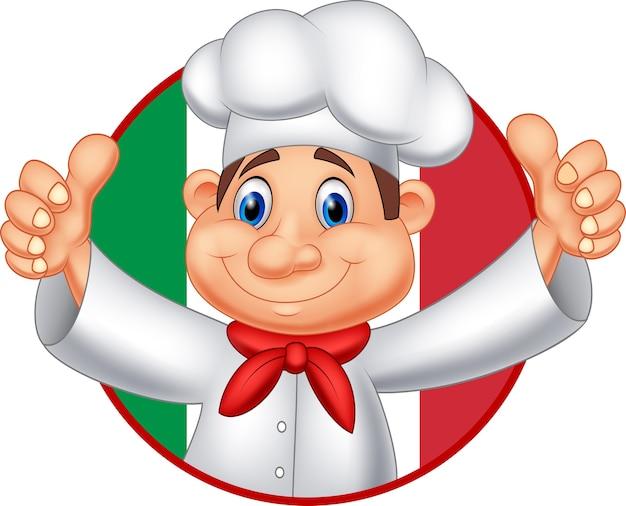Cozinheiro chefe dos desenhos animados que dá o polegar acima