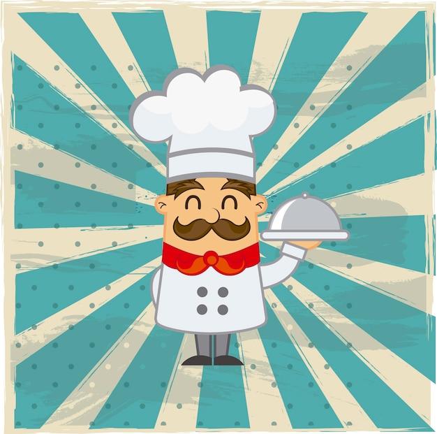 Cozinheiro chefe dos desenhos animados sobre ilustração em vetor fundo grunge