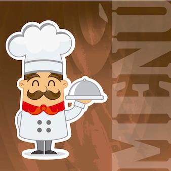 Cozinheiro chefe dos desenhos animados sobre ilustração em vetor menu textura de madeira