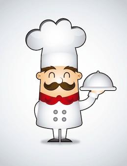 Cozinheiro chefe dos desenhos animados sobre ilustração vetorial de fundo cinza