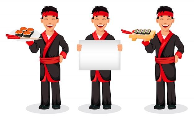 Cozinheiro chefe japonês que cozinha rolos de sushi
