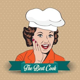 Cozinheiro chefe retro senhora