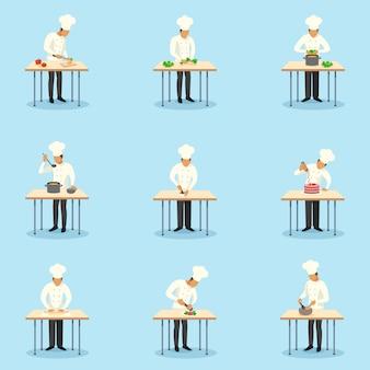 Cozinheiro conjunto de caracteres profissão