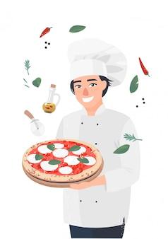 Cozinheiro de homem de vetor em pé com pizza
