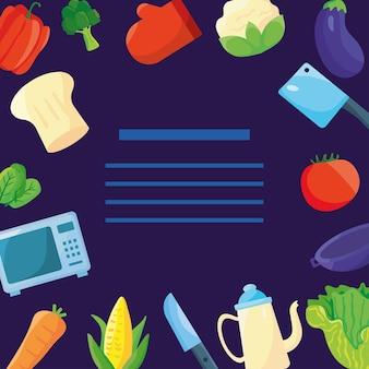 Cozinheiro de utensílios de cozinha com ícones ao redor