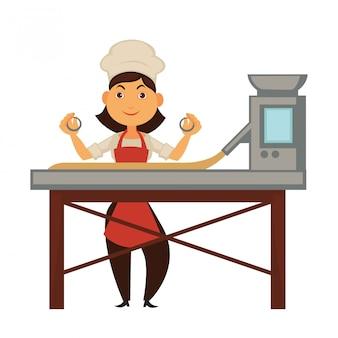 Cozinheiro feminino e grande máquina de fábrica para manipulação de massa