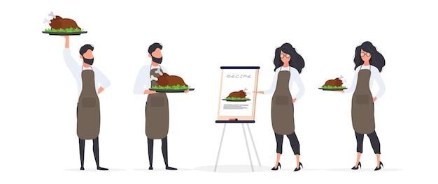 Cozinheiro masculino tem um peru frito na mão. o cara no avental da cozinha está segurando frango frito. isolado. vetor.