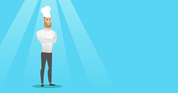 Cozinheiro principal masculino seguro com os braços cruzados.