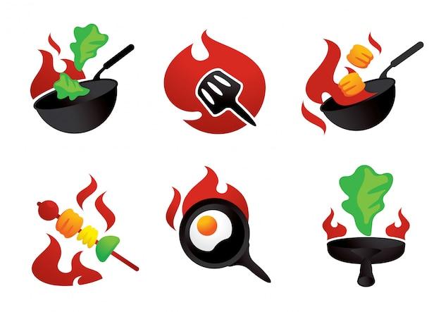 Cozinheiro quente no elemento gráfico de ilustração de fogo