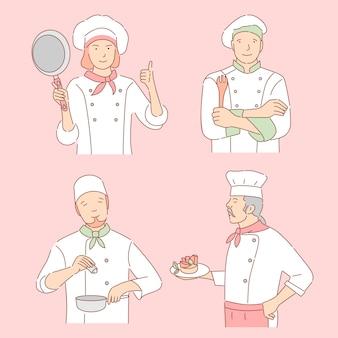 Cozinheiros chefe com ilustração dos desenhos animados de ferramentas culinárias. mulher e homens de uniforme, funcionários do restaurante delinear caracteres.