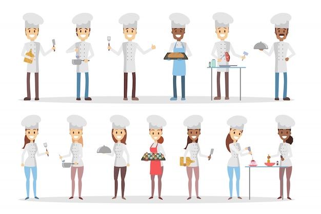 Cozinheiros chefe dos desenhos animados conjunto de cozinhar e preparar comida.