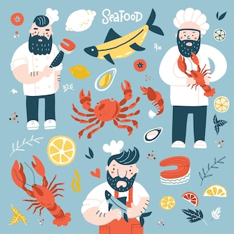 Cozinheiros chefes dos desenhos animados segurando uma ilustração colorida de peixe frito, lagosta e bife de salmão com frutos do mar ...