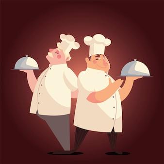 Cozinheiros segurando uma bandeja servindo uma refeição especial ilustração vetorial de restaurante