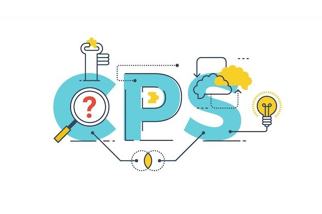 Cps: ilustração de projeto de tipografia colaborativa de resolução de problemas palavra lettering