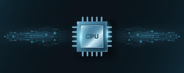Cpu de microchip digital com placa de circuito de computador brilhante ou placa-mãe. processador futurista de alto desempenho. banco de dados, conceito processign. ilustração vetorial