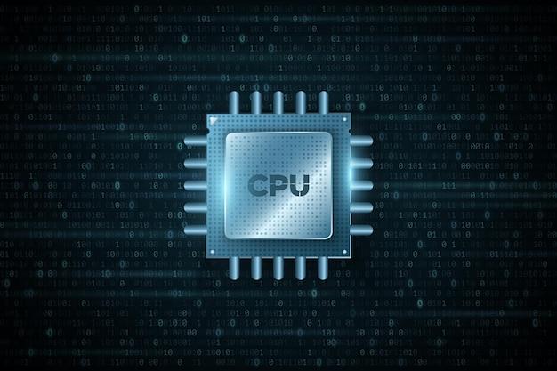 Cpu de microchip digital em plano de fundo do código binário. processador futurista de alto desempenho. big data. engenharia de software. banco de dados, conceito processign. ilustração vetorial