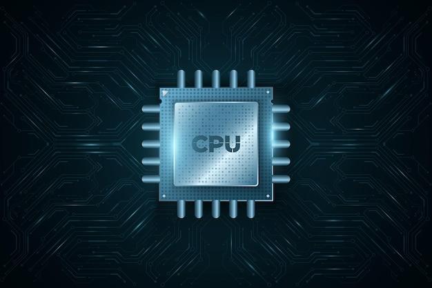 Cpu de microchip digital moderno na placa de circuito do computador brilhante ou placa-mãe. processador futurista de alto desempenho. banco de dados, conceito processign. ilustração vetorial