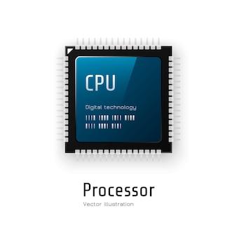 Cpu. processador de microchip em fundo branco. ilustração