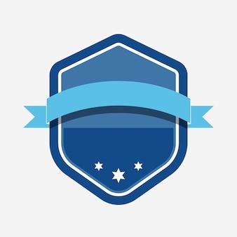 Crachá azul embelezado com um banner