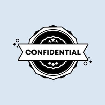 Crachá confidencial. vetor. ícone de carimbo confidencial. logotipo do crachá certificado. modelo de carimbo. etiqueta, etiqueta, ícones.